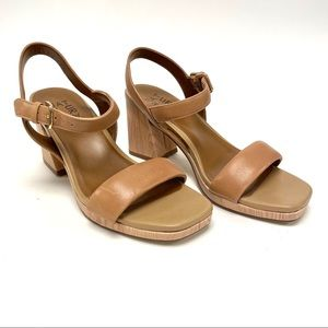 Naturalizer Rose Tan Leather Strappy Heel Sandals